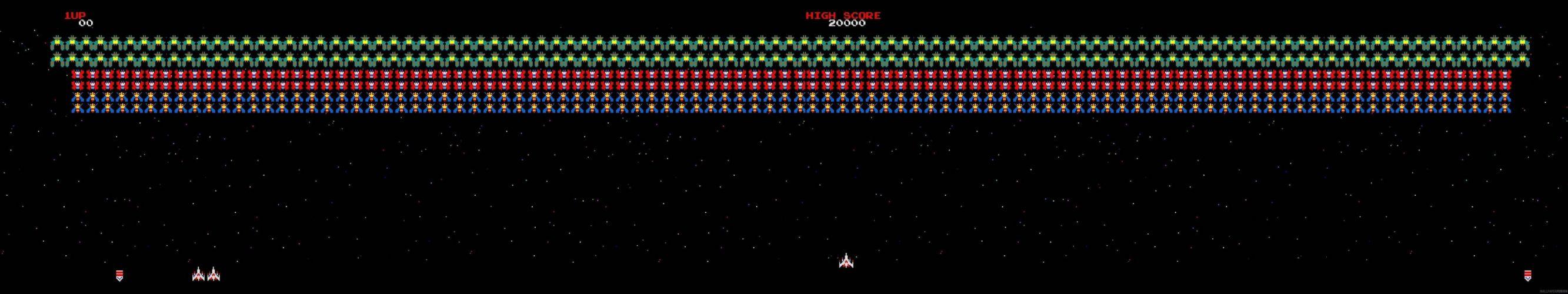 GALAGA sci-fi arcade shooter spaceship action atari wallpaper