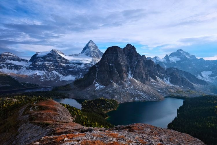 Canada British Columbia Alberta Mt Assiniboine mountains lakes forest snow sky clouds landscape nature wallpaper