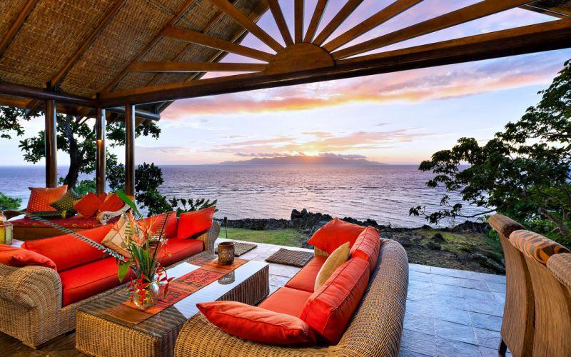 Beauty - design - Happy - House -beach -sunrise - living-room - orange - relax - style - Villa - sea - sky - Luxury wallpaper