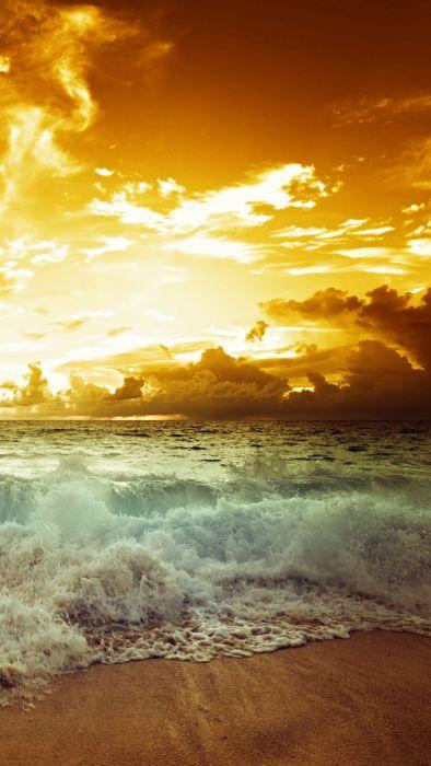 sea waves sunset sky clouds landscape nature beaches wallpaper