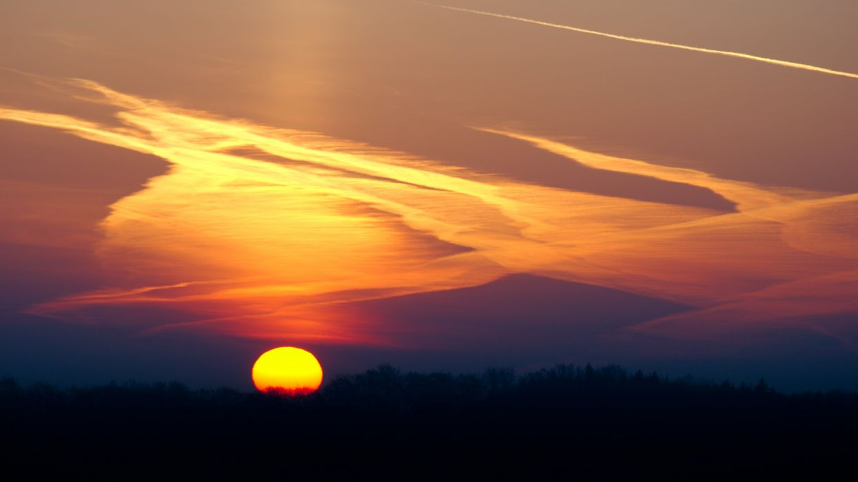 sunset cloud sky landscape forest wallpaper