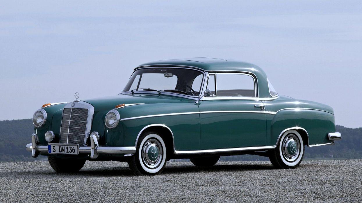 cars old green sky retro grille Mercedes classic motors wallpaper