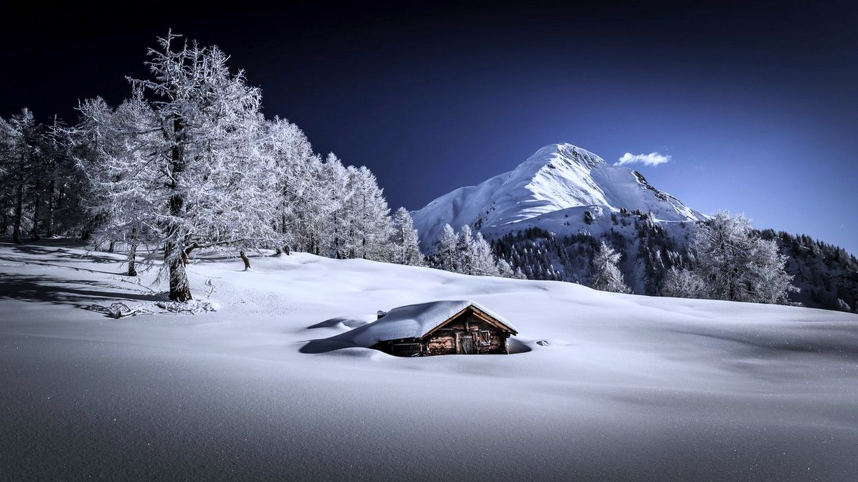 snow landscape houses mountains forest trees winter cold wallpaper