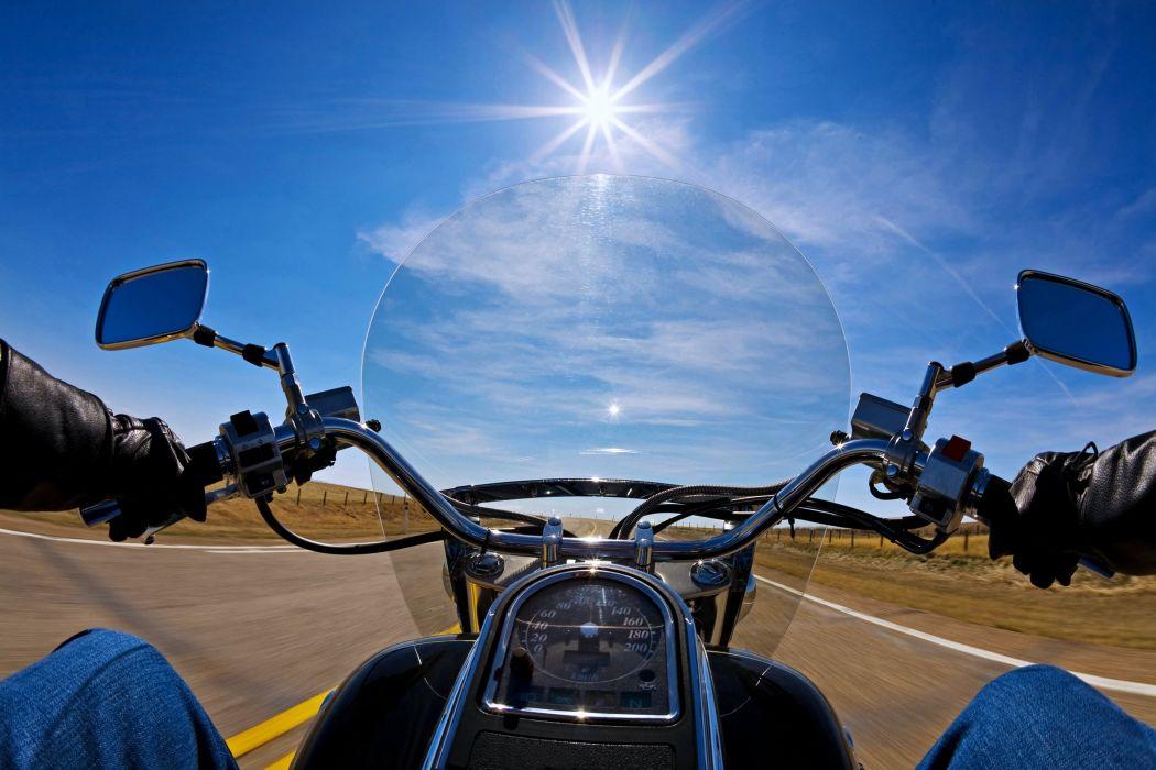 motorcycles road bike rider sky sunny landscape speed Harley-Davidson wallpaper