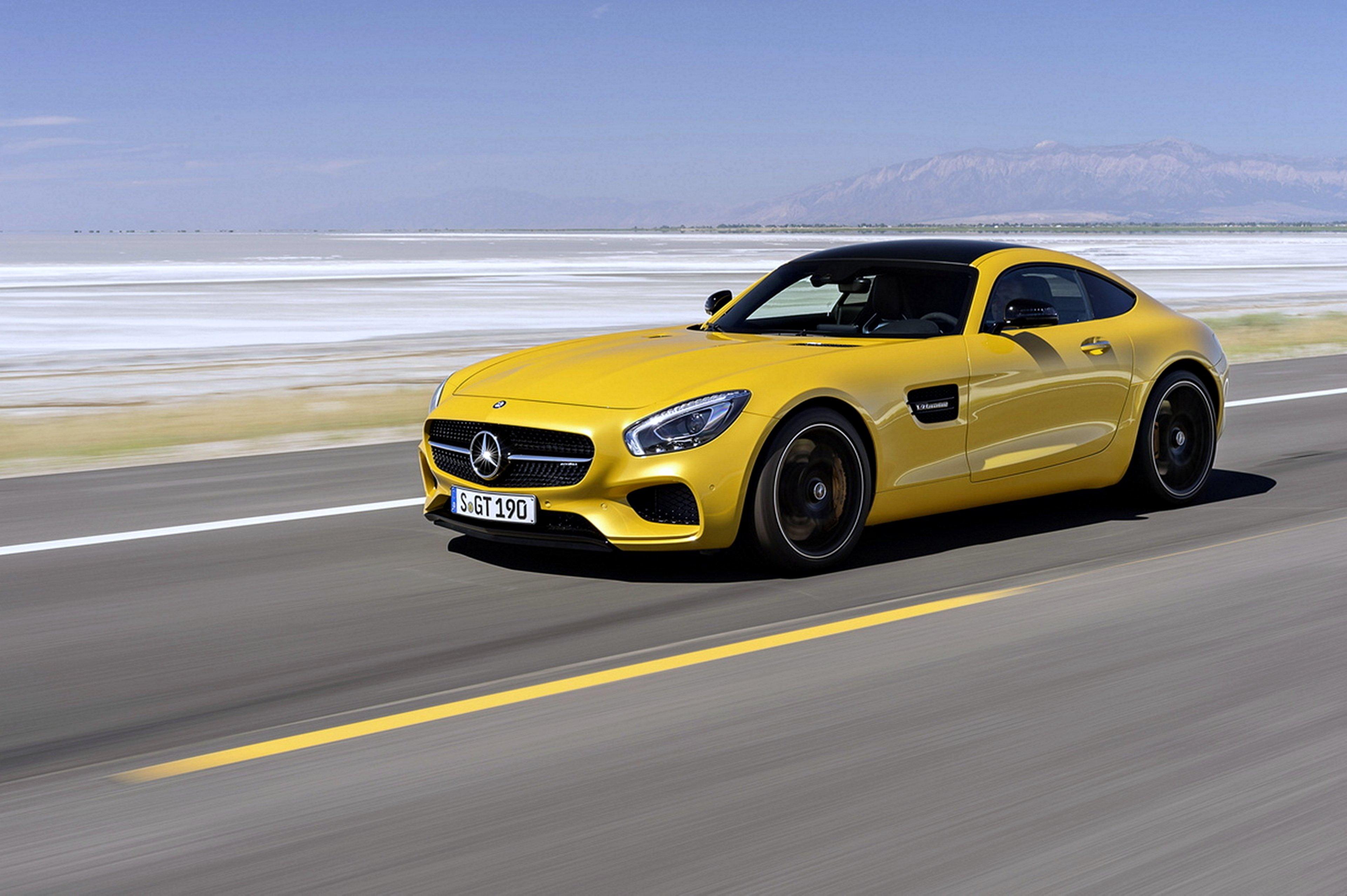 Mersedes Avto Avto Doroga Yellow Supercars Cars Road Speed Motors