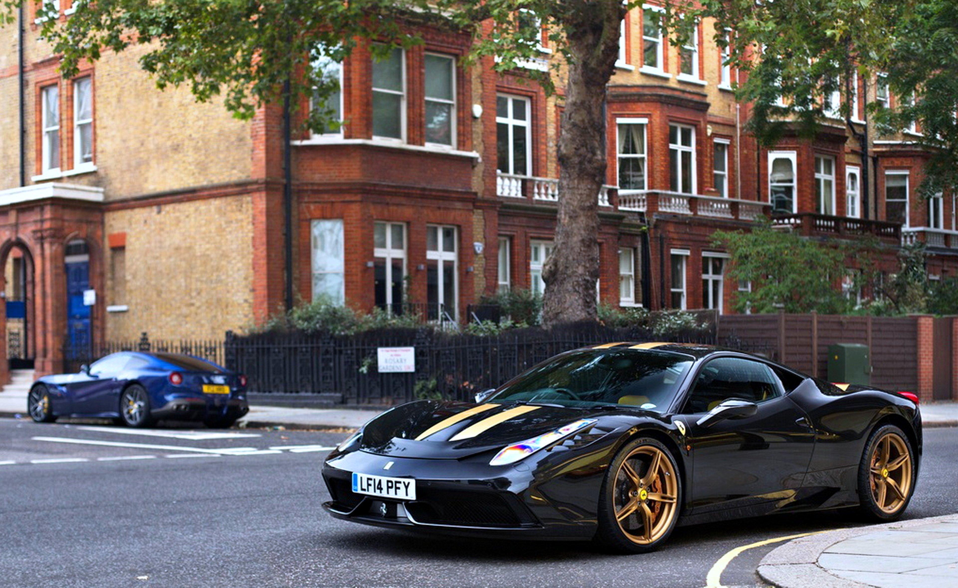 Ferrari Avto Black City Cars Supercars Road Town Speed Motors