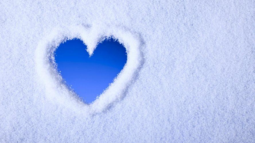 snow art sky blue white emotions hearts wallpaper