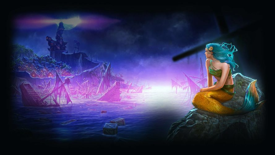NIGHTMARES FROM THE DEEP mmo online fantasy adventure fantasy puzzle 1nftd mermaid shipwreck ship wallpaper
