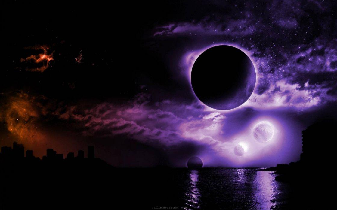 space planet moon lake reflection artwork sky cloud wallpaper