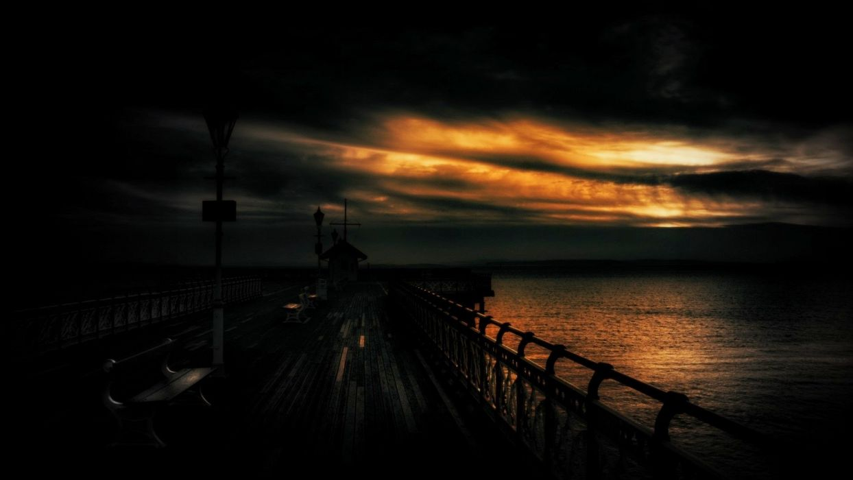 dark sunset ocean sea pier sky wallpaper
