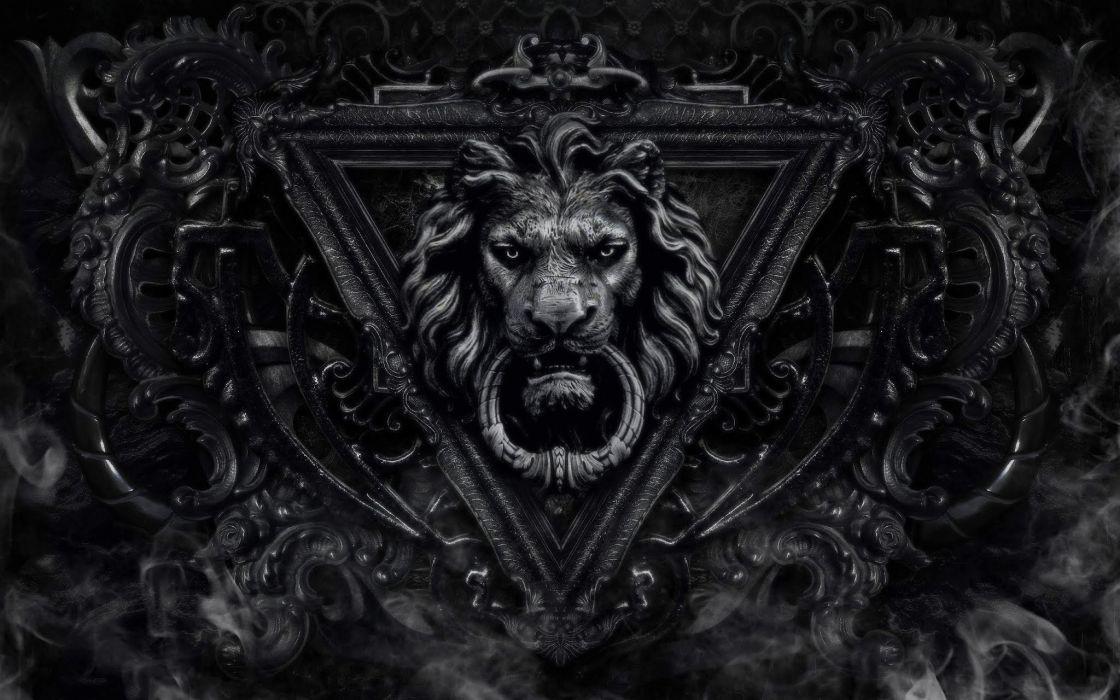 crest lion door artwork wallpaper