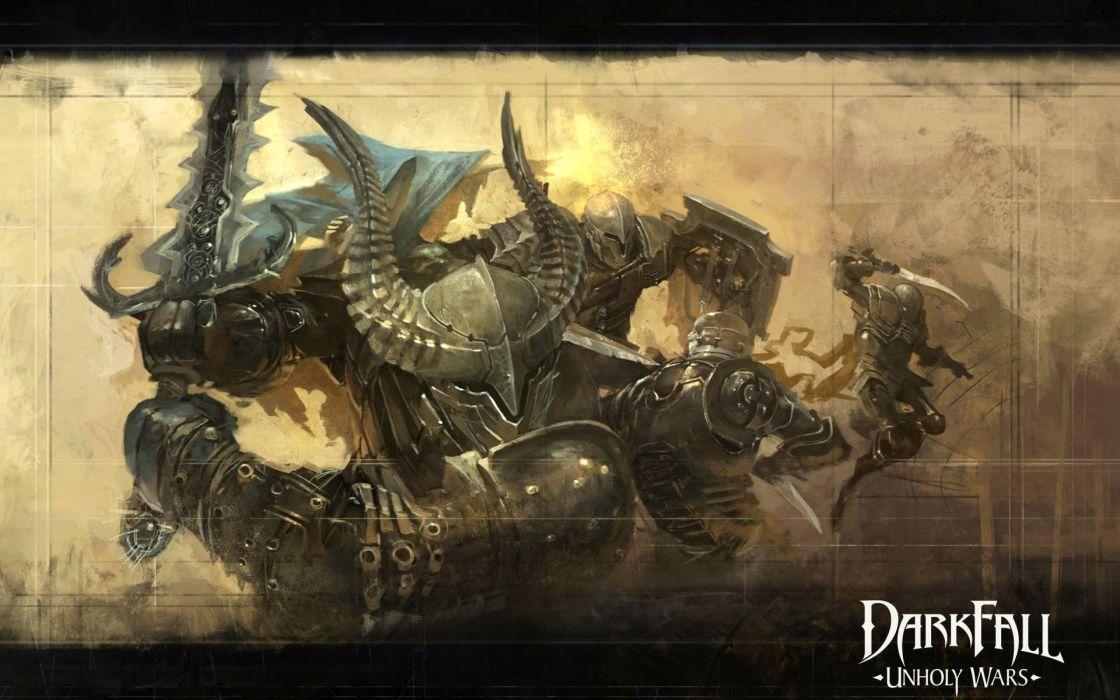 DARKFALL UNHOLY WARS mmo online fantasy fighting 1duw rpg action strategy monster warrior battle poster wallpaper