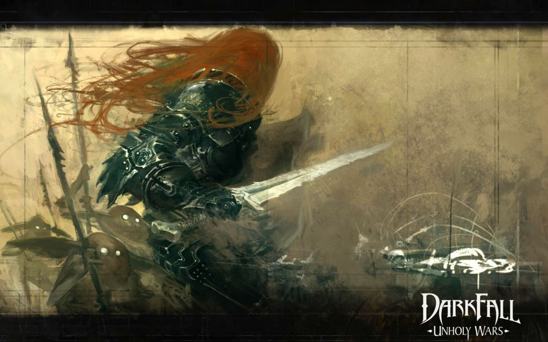 DARKFALL UNHOLY WARS mmo online fantasy fighting 1duw rpg action strategy warrior sword poster wallpaper