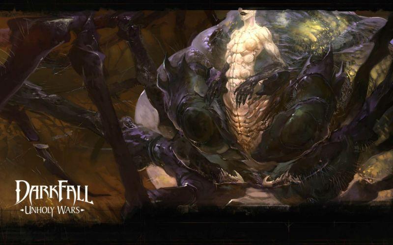 DARKFALL UNHOLY WARS mmo online fantasy fighting 1duw rpg action strategy warrior monster battle wallpaper