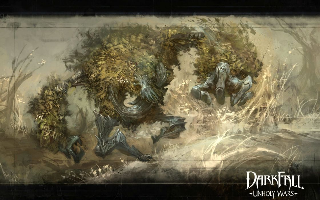 DARKFALL UNHOLY WARS mmo online fantasy fighting 1duw rpg action strategy monster creature poster wallpaper