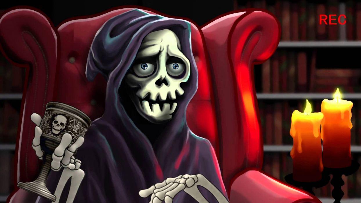 DEADLINGS Rotten action adventure indie dark horror 1dlings arcade scrolling strategy monster reaper skeleton skull wallpaper
