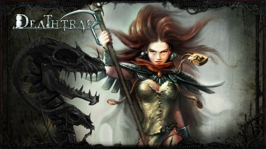 DEATHTRAP action adventure rpg strategy tower defense fighting fantasy girl warrior poster wallpaper