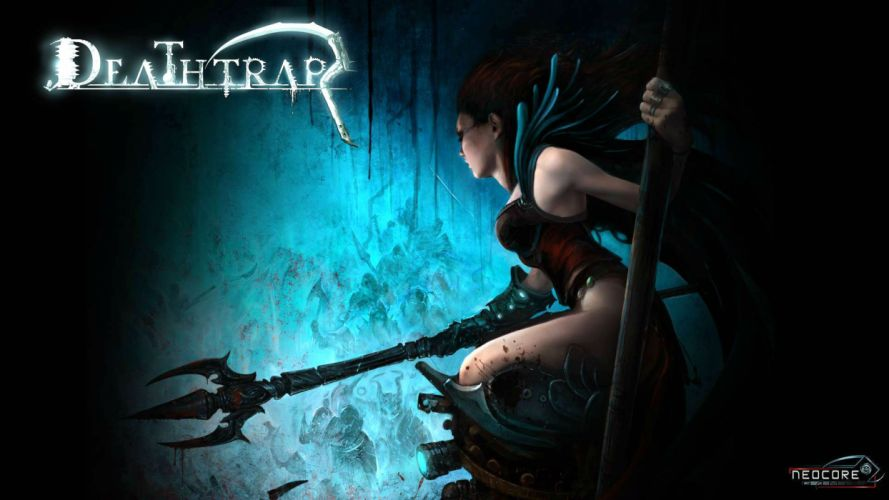 DEATHTRAP action adventure rpg strategy tower defense fighting fantasy girl poster warrior wallpaper