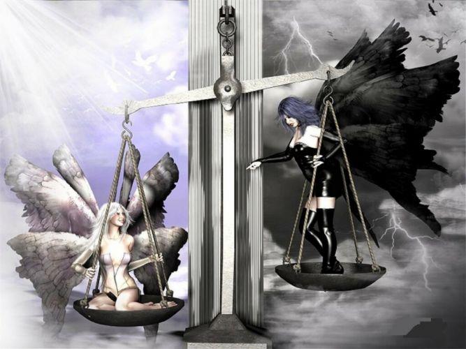 good evil angel warrior wallpaper