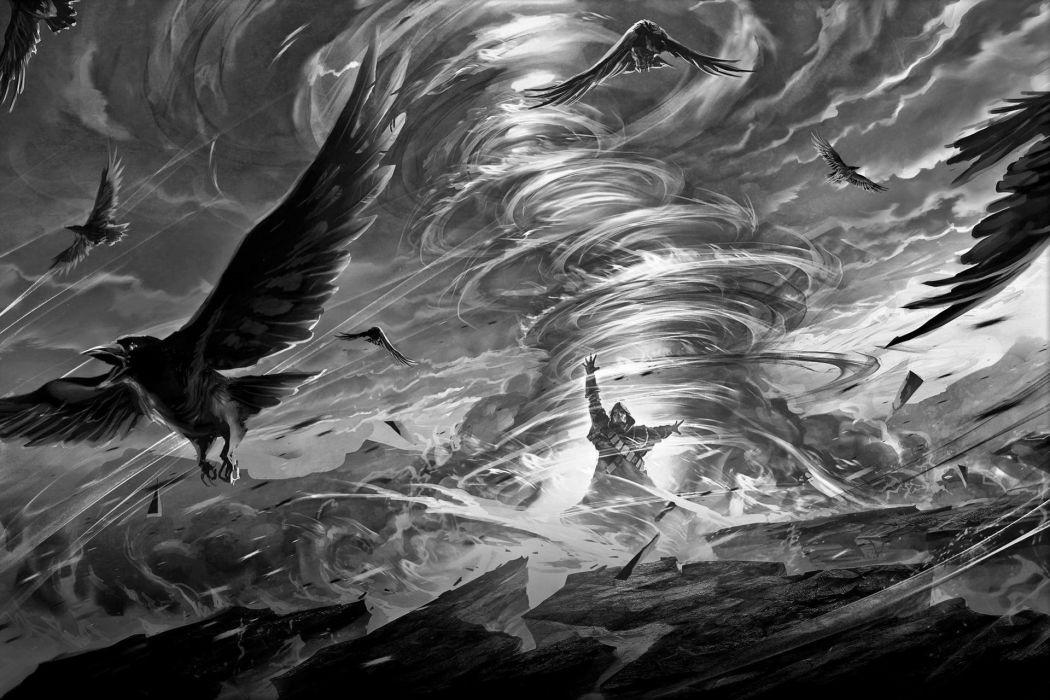 goth gothic magic dark crow raven fantasy wallpaper