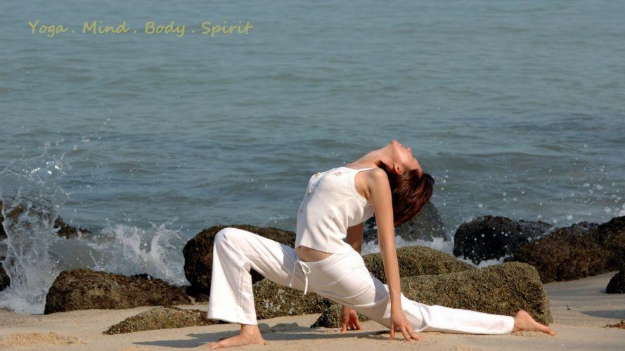 SPORTS - girl brunette yoga seaside beach wallpaper