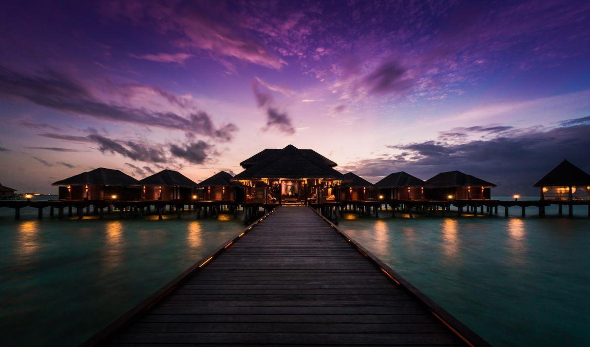 Maldives Beach Hd Wallpaper: Anantara Veli Resort And Spa Maldives Sunset Pier