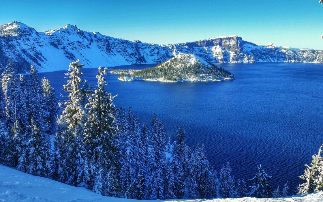 Crater Lake winter lake island forest trees landscape wallpaper