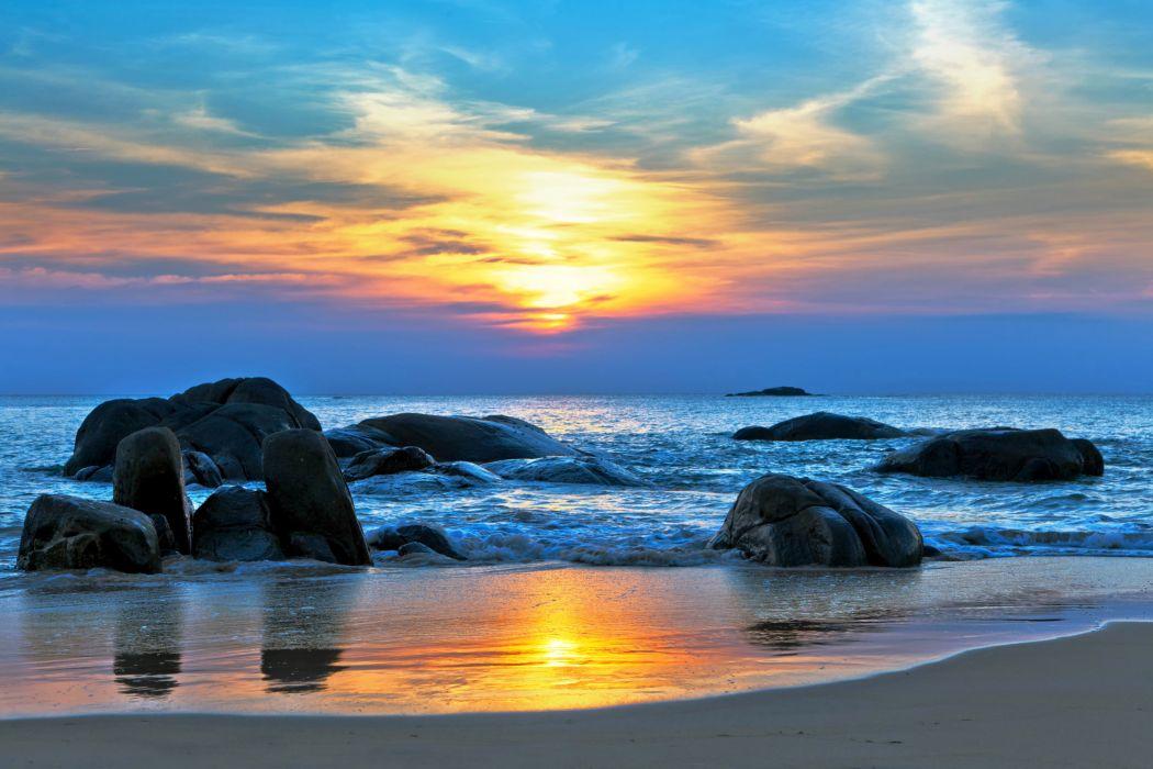 Coast Stones Sky Sunrise sunset Scenery sea ocean beach waves wallpaper