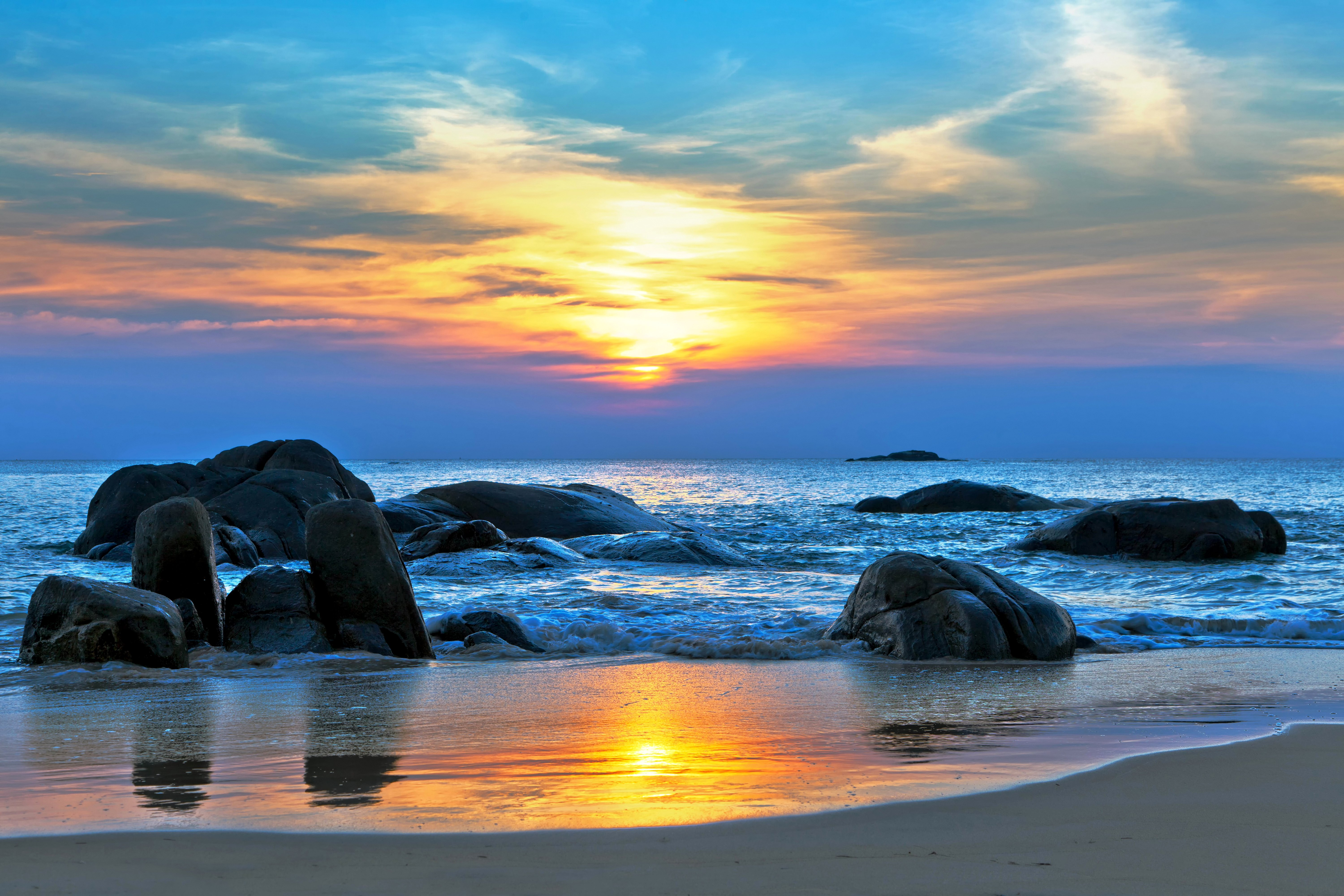 coast stones sky sunrise sunset scenery sea ocean beach waves