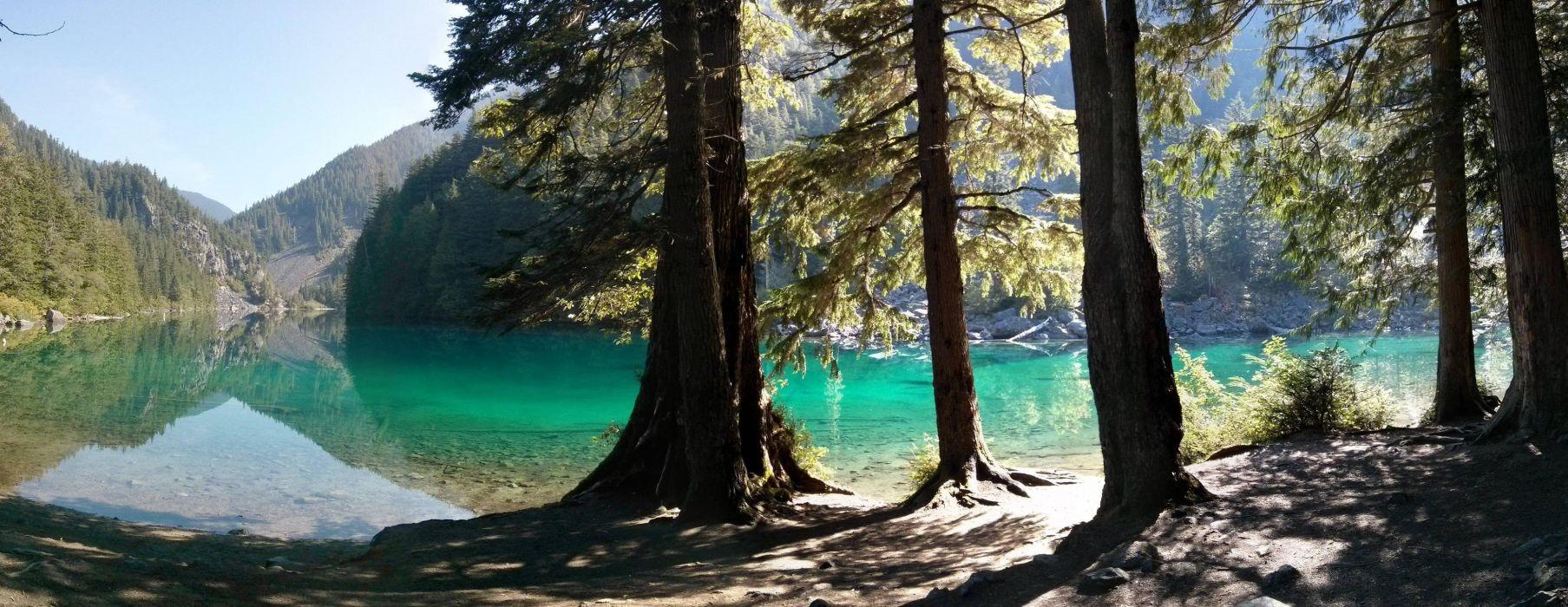 Lake Lindeman reflection forest trees British Columbia beach shore wallpaper