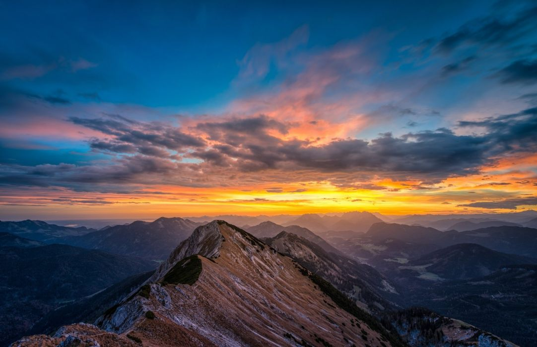 Landscape mountains peaks snow nature sunrise sky clouds wallpaper