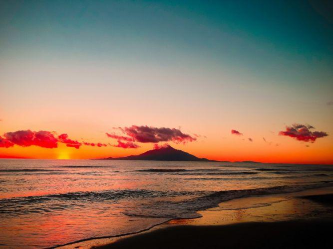 Landscape sky clouds sunset sea waves beach island mountains nature wallpaper