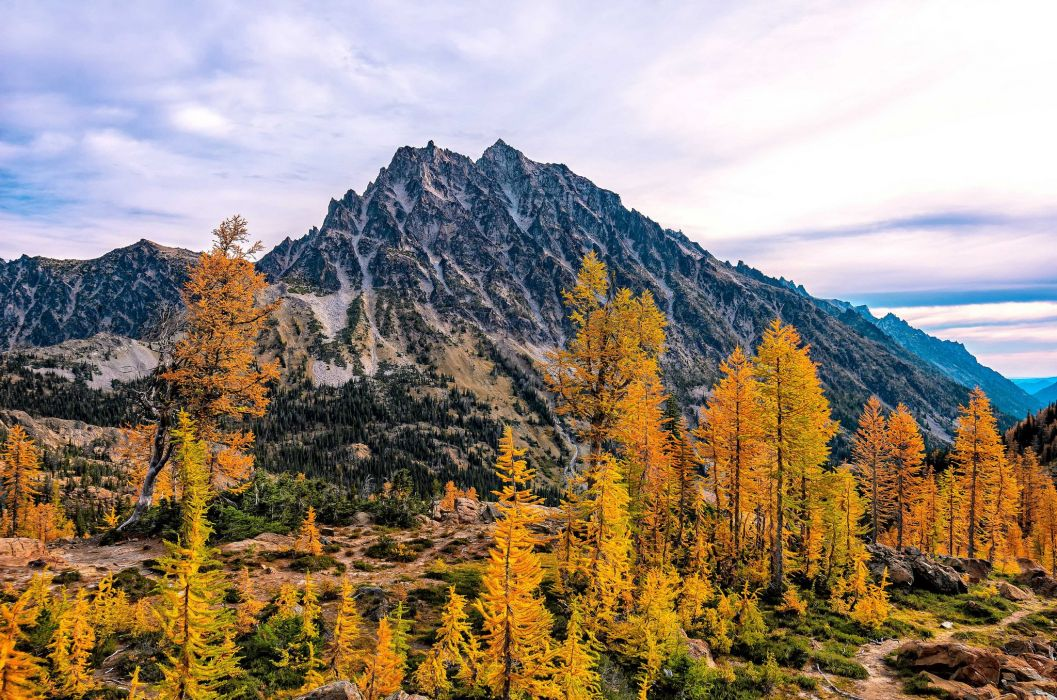 mountains trees Mount Stuart Washington autumn wallpaper