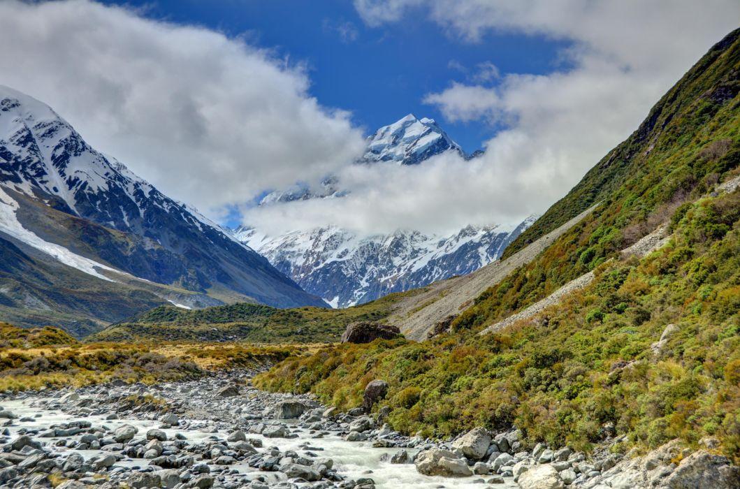 mountains mountain Cook Aoraki landscape National Park Mount Cook New Zealand wallpaper