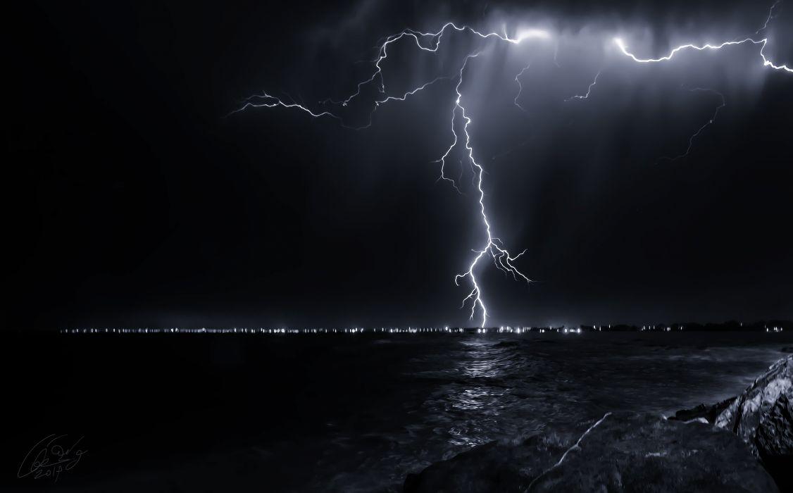 nature night sky lightning sea ocean storm rain wallpaper