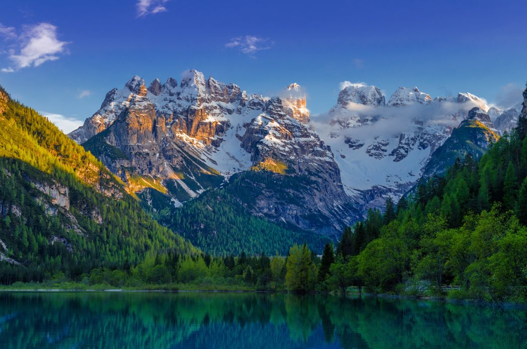 lake landscape mountains emerald mountain snow wallpaper