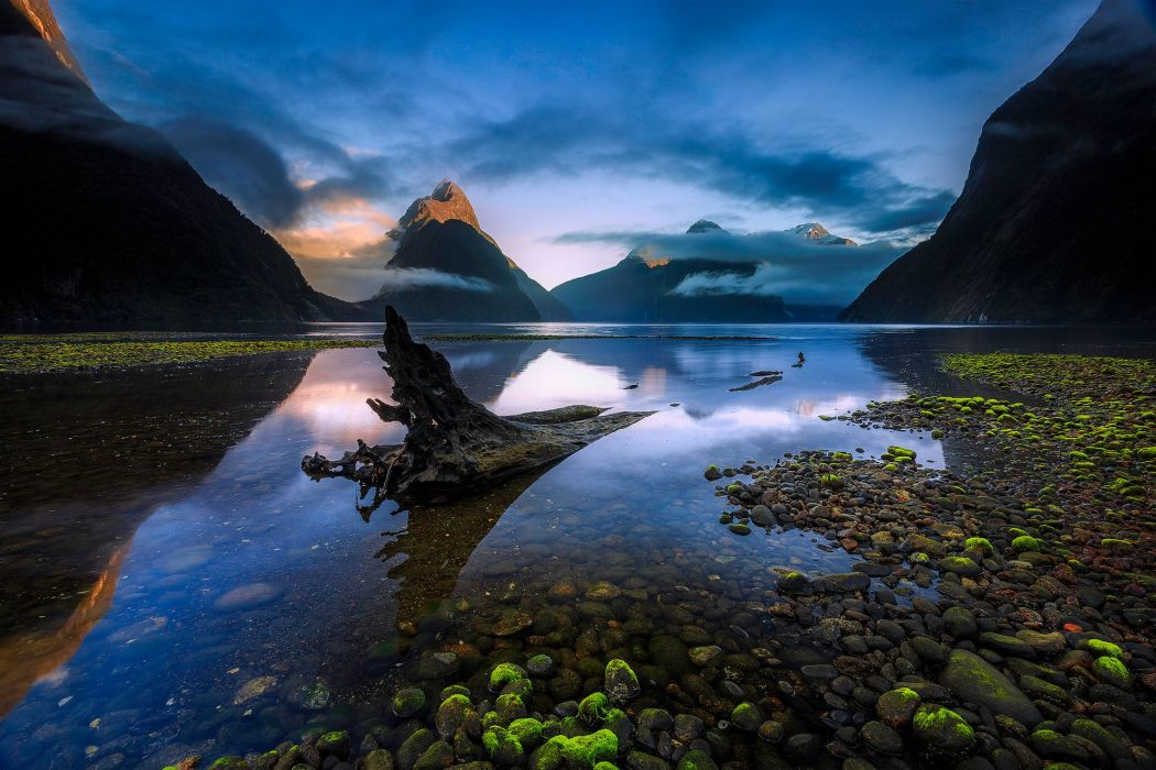 New Zealand South Island bay lake reflection mountain wallpaper