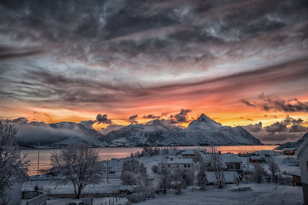 Norway winter snow a fishing village sunset town mountains wallpaper