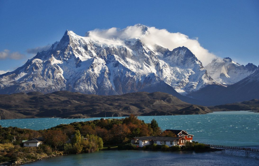 Patagonia Chile sky clouds mountains snow lake house trees nature landscape wallpaper