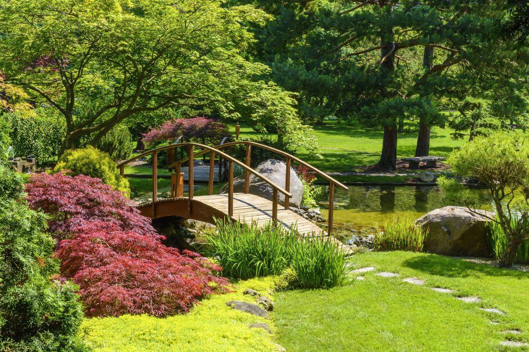 Park River Bridge Shrubs Grass Nature garden wallpaper
