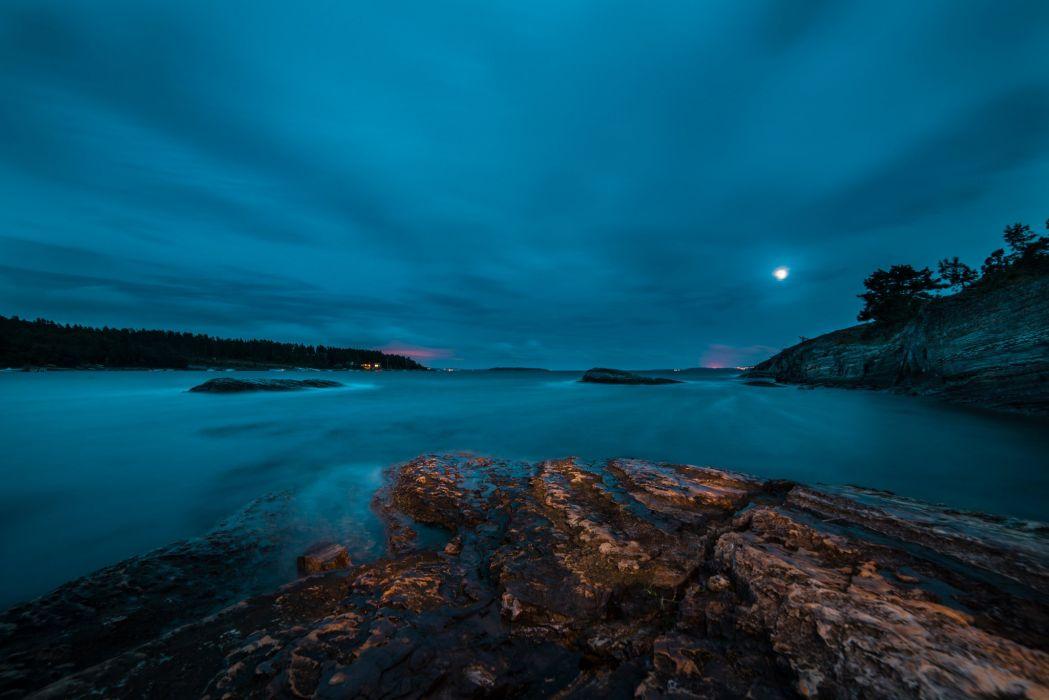 rocks lake forest night moon wallpaper
