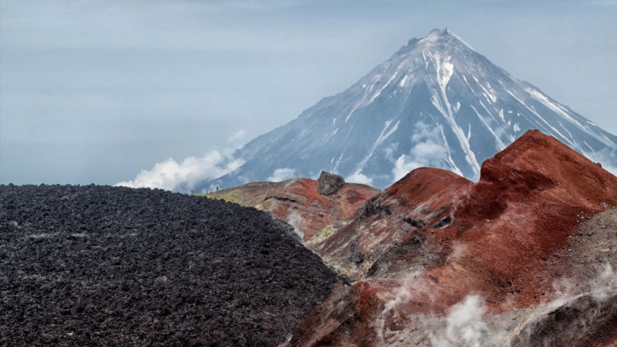 Russia Mountains Kamchatka Volcano Nature wallpaper