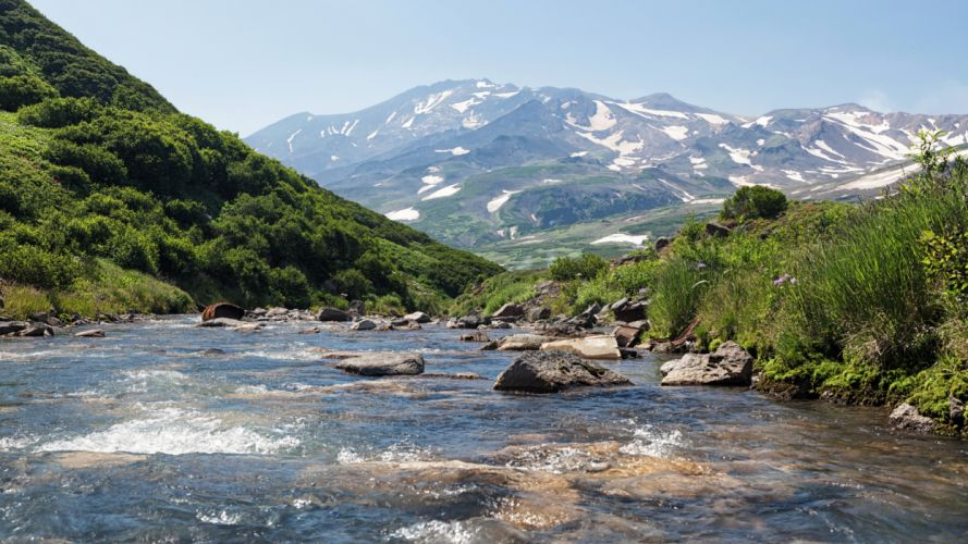 Russia Mountains River Stones Kamchatka Nature wallpaper