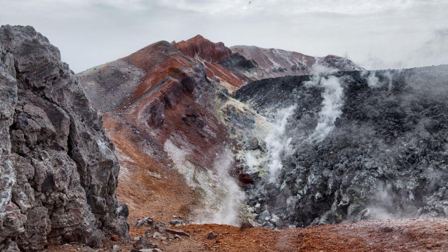 Russia Mountains Kamchatka Nature volcano wallpaper