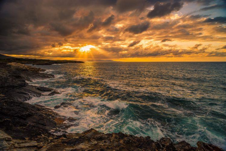 sea waves spain rocks sky ocean beach wallpaper
