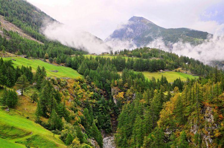Scenery Switzerland Mountains Forests Grasslands Nature autumn wallpaper