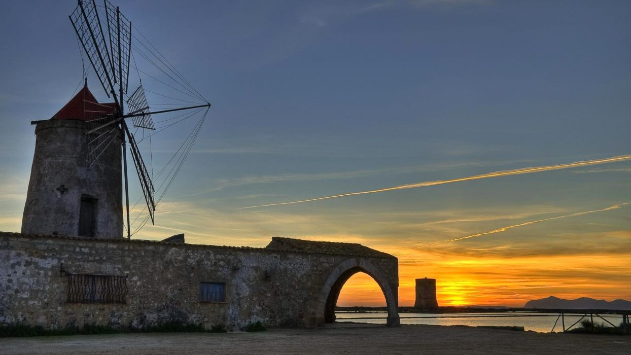 Sicily Italy sky night sunset windmill windmill building tower landscape wallpaper