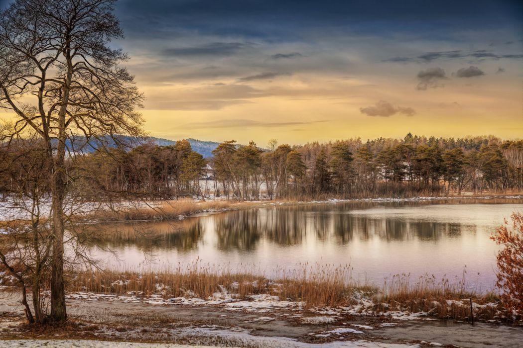 winter lake reflection autumn wallpaper