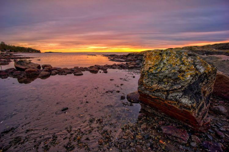 stone sunset ocean rocks Norway Rygge Ostfold Norway Rygge Scandinavia wallpaper