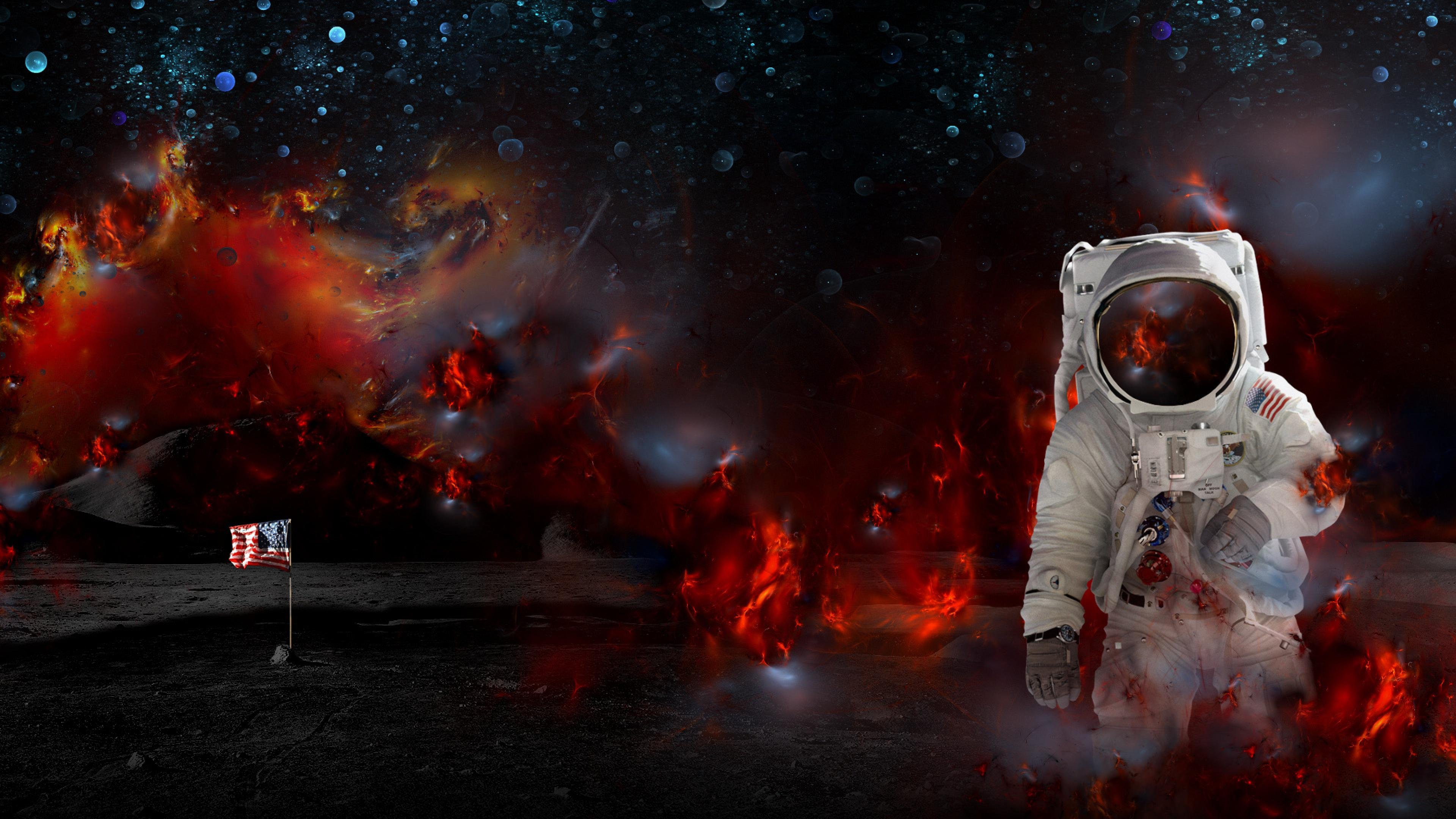 Astronaut nasa space sci-fi fire psychedelic wallpaper ...
